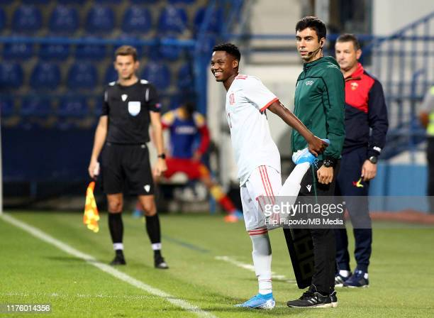 Ansu Fati of Spain enters the pitch during the 2019 UEFA European Under21 Championship Qualifying match between Montenegro and Spain on October 15...