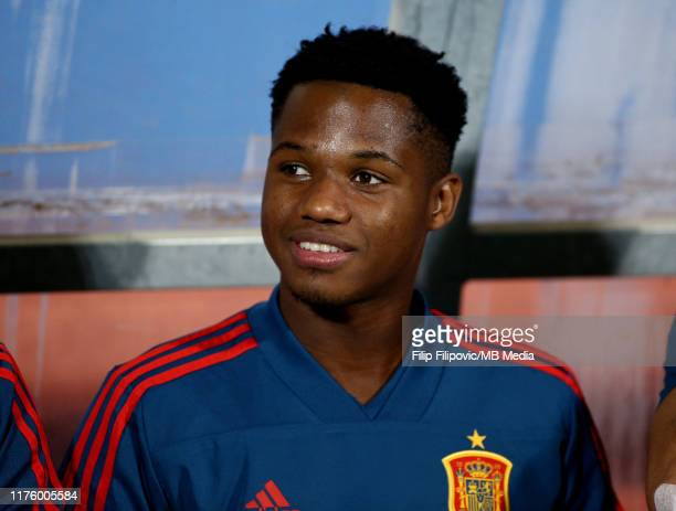 Ansu Fati of Spain looks on prior the 2019 UEFA European Under21 Championship Qualifying match between Montenegro and Spain on October 15 2019 in...