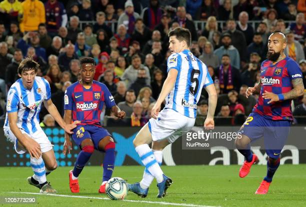 Ansu Fati Zubeldia Arturo Vidal and Robin Le Normand during the match between FC Barcelona and Real Sociedad corresponding to the week 27 of the Liga...