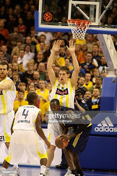 Ansu Sesay #9 of Alba Berlin competes with Gasper Vidmar #14 of Fenerbahce Ulker during the Euroleague Basketball Game 7 match between Alba Berlin...