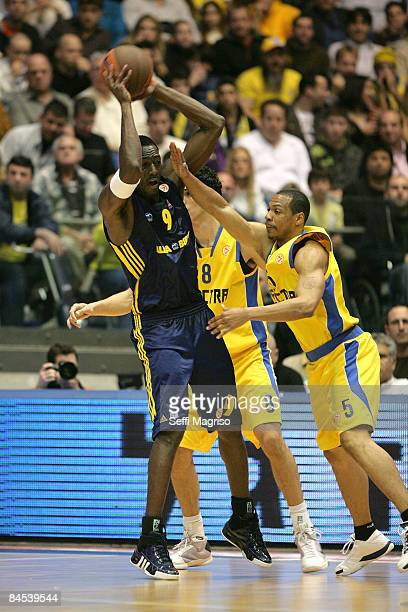 Ansu Sesay #9 of Alba Berlin in action during the Euroleague Basketball Top 16 Game 1 match between Maccabi Electra Tel Aviv v Alba Berlin on January...
