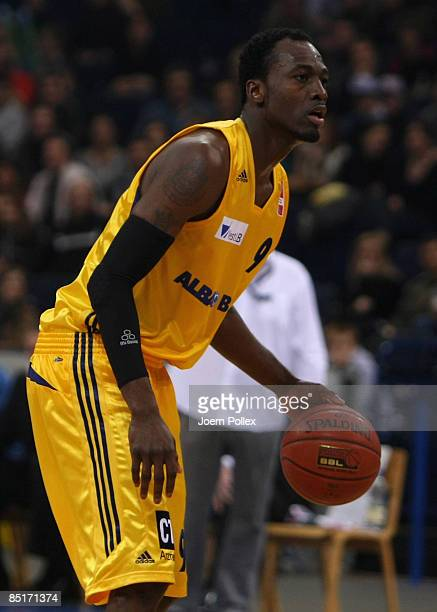 Ansu Sesay of Berlin controls the ball during the TOP FOUR 2009 Cup between Alba Berlin and Deutsche Bank Skyliners at the Color Line Arena on...
