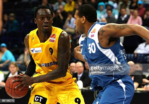 Ansu Sesay of Berlin moves against Lorenzo Gordon of Frankfurt during the TOP FOUR 2009 Cup between Alba Berlin and Deutsche Bank Skyliners at the...