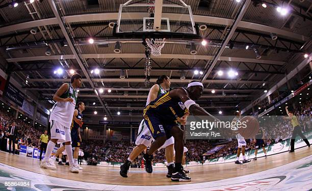 Ansu Sesay of Berlin tries to catch the ball during the Bundesliga game between TBB Trier and ALBA Berlin at the Trier Arena on April 8 2009 in Trier...