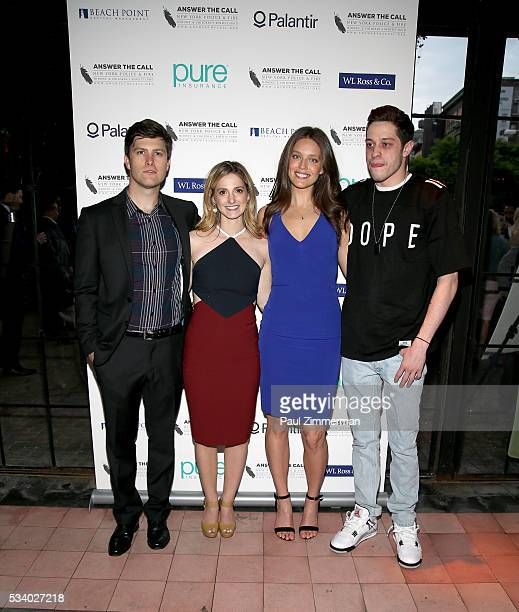 Answer the Call Kick off to Summer Comedian Colin Jost Lauren Profeta model Emily DiDonato and Pete Davidson pose at the 4th annual New York Police...