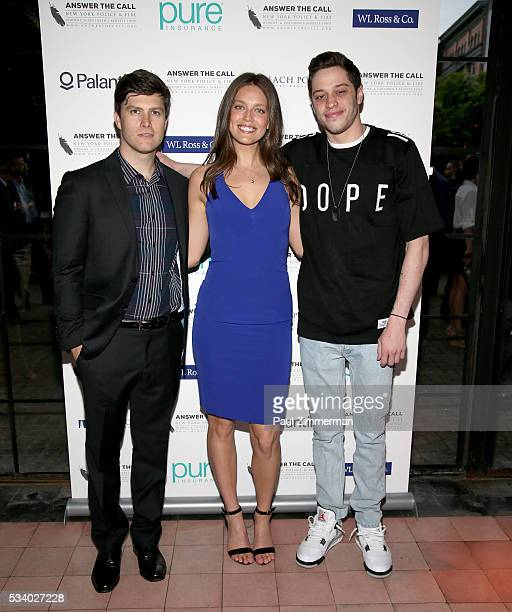 Answer the Call: Kick off to Summer Honorary Chairs comedian Colin Jost, model Emily DiDonato and Pete Davidson pose at the 4th annual New York...