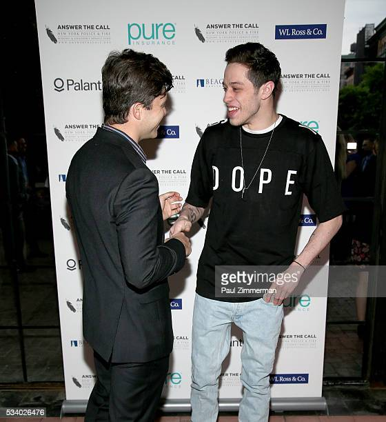 Answer the Call Kick off to Summer Honorary Chairs/comedians Colin Jost and Pete Davidson pose at the 4th annual New York Police and Fire Widows...