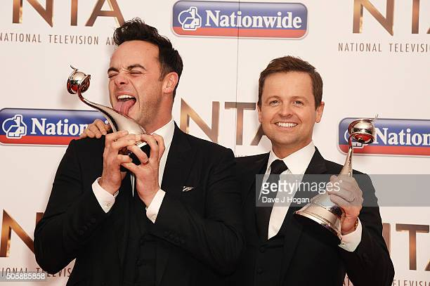 Ant and Dec accepted the award for TV Presenter during the 21st National Television Awards at The O2 Arena on January 20 2016 in London England