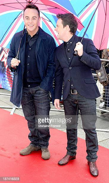 Ant and Dec attend the first day of auditions for Britain's Got Talent at The Lowry on January 20 2012 in Manchester England