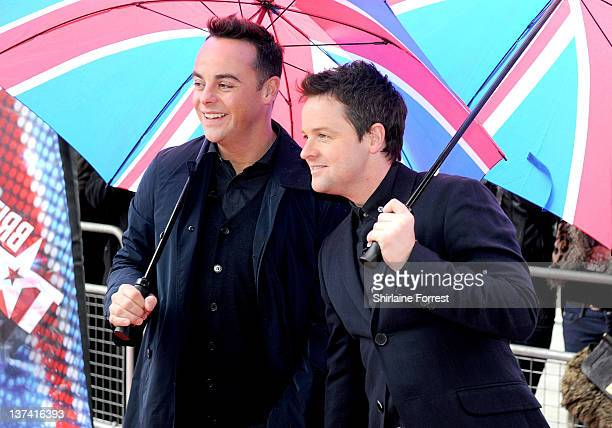 Ant and Dec attend the first day of auditions of Britain's Got Talent at The Lowry on January 20 2012 in Manchester England