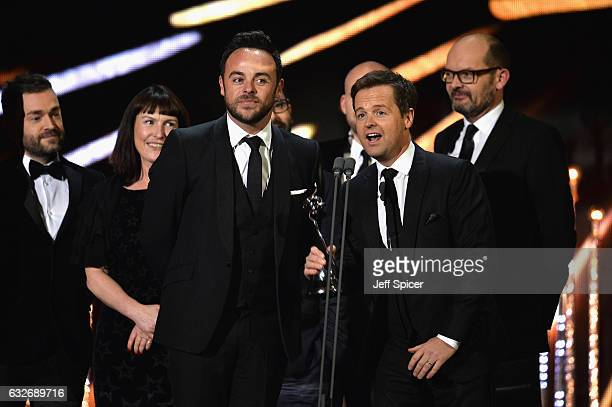 Ant and Dec with their award for Best Entertainment Programme on stage during the National Television Awards at The O2 Arena on January 25 2017 in...