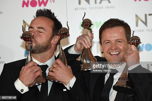 Ant and Dec with their awards in the winners room at the National Television Awards at The O2 Arena on January 25 2017 in London England