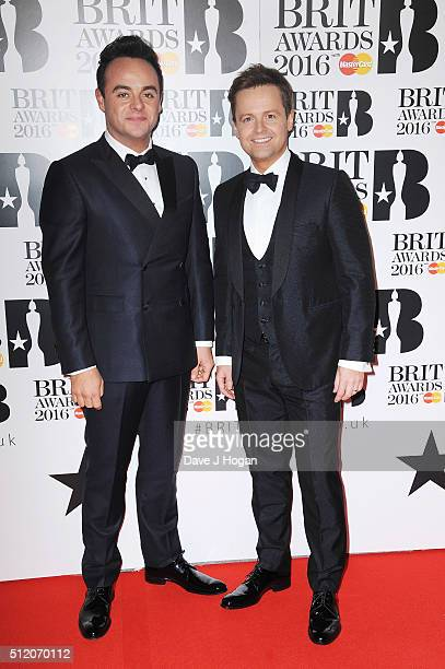 Ant Dec attend the BRIT Awards 2016 at The O2 Arena on February 24 2016 in London England