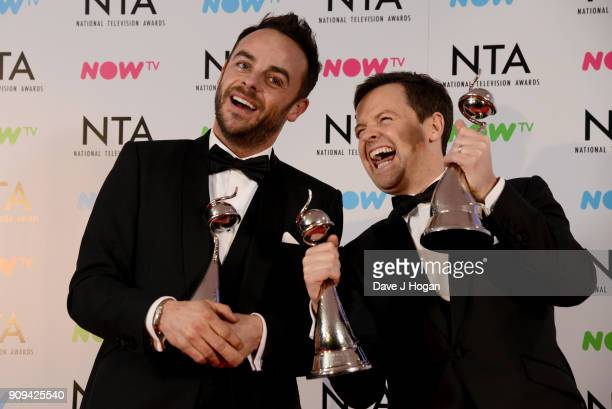 Ant Dec with the The Bruce Forsyth Entertainment Award and TV Presenter Award at the National Television Awards 2018 at The O2 Arena on January 23...