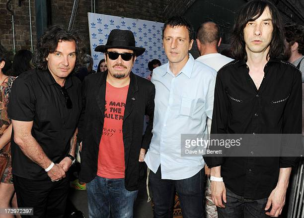 Ant Genn Barnzley Zoltar guest and Bobby Gillespie attend the launch of the adidas #Spezial exhibtion showcasing 600 pairs of adidas trainers at...