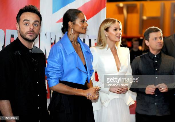 Ant McPartlin Alesha Dixon Amanda Holden and Declan Donnelly attend the Britain's Got Talent Manchester auditions at The Lowry on February 8 2018 in...