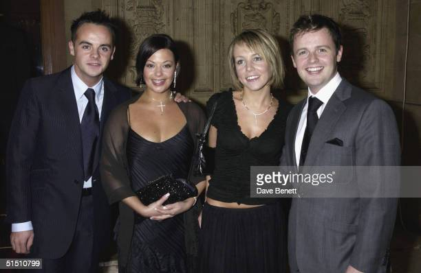 Ant McPartlin and Declan Donnelly and their girlfriends attend the 2002 National TV Awards at The Royal Albert Hall on October 15 2002 in London