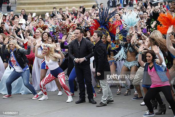 Ant McPartlin and Declan Donnelly at the Britain's Got Talent Flashmob at Trafalgar Sq on March 9 2012 in London England