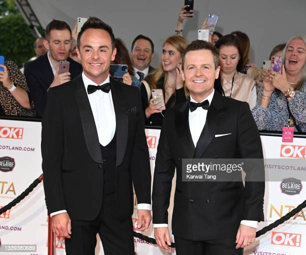 Ant McPartlin and Declan Donnelly attend the National Television Awards 2021 at The O2 Arena on September 09, 2021 in London, England.
