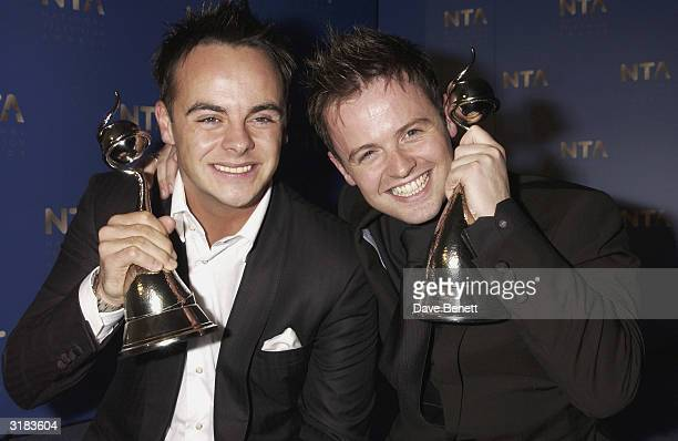 Ant McPartlin and Declan Donnelly attends the 2003 National TV Awards at the Royal Albert Hall on October 28 2003 in London