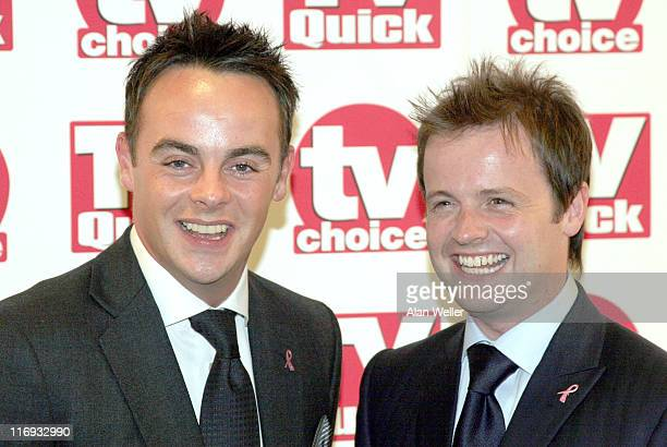Ant McPartlin and Declan Donnelly during TV Quick Awards TV Choice Awards Inside Arrivals at The Dorchester in London Great Britain