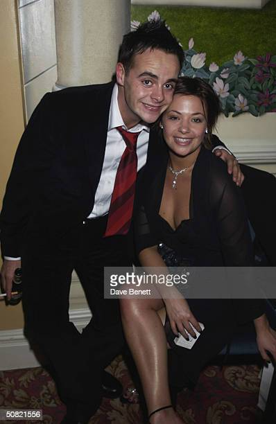 Ant McPartlin and his girlfriend attend the 2002 Bafta TV After party in the ballroom at The Grosvenor House Hotel on April 22 2002 in London