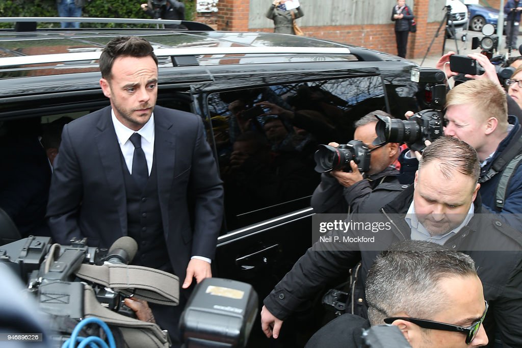 Ant McPartlin arrives at Wimbledon Magistrates Court on April 16, 2018 in London, England. Anthony McPartlin, one half of the television presenting duo Ant and Dec, appears in court charged with drink-driving following a three car collision on March 18 2018.