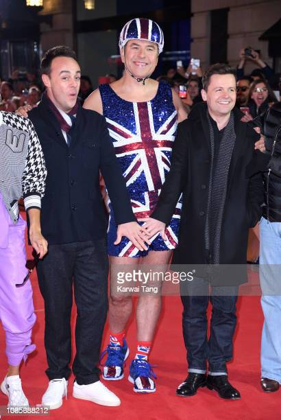 Ant McPartlin David Walliams and Declan Donnelly arrive at the Britain's Got Talent 2019 photocall at London Palladium on January 20 2019 in London...