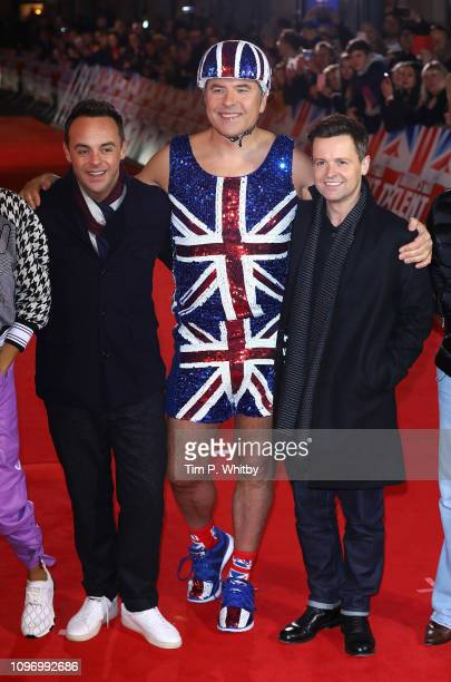 Ant McPartlin David Walliams and Declan Donnelly arrive at the Britain's Got Talent 2019 auditions held at London Palladium on January 20 2019 in...