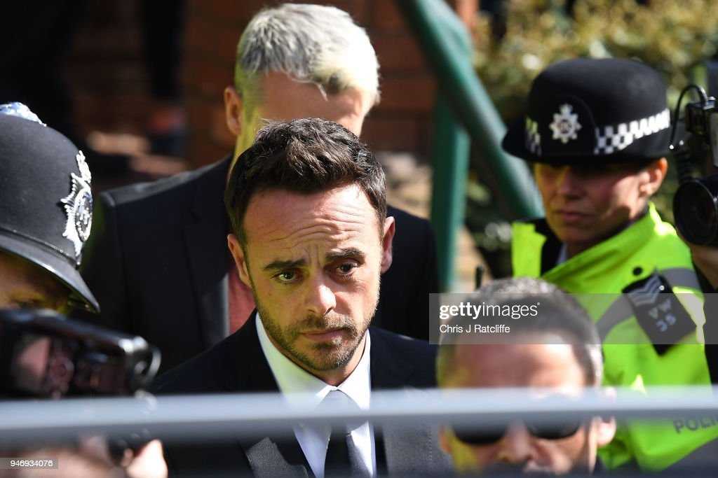 Ant McPartlin leaves Wimbledon Magistrates Court on April 16, 2018 in London, England. Anthony McPartlin, one half of the television presenting duo Ant and Dec is fined £86,000 and banned from driving for 20 months after pleaded guilty to drink-driving.