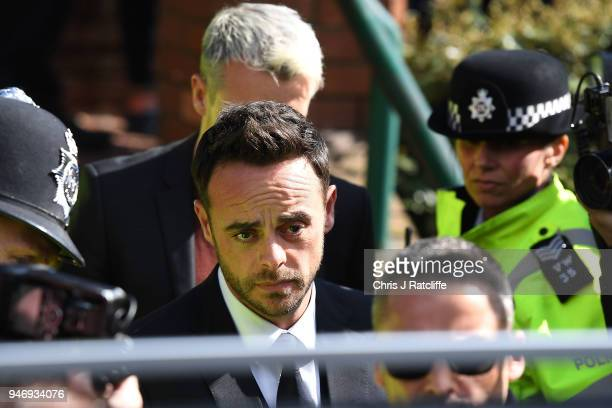 Ant McPartlin leaves Wimbledon Magistrates Court on April 16 2018 in London England Anthony McPartlin one half of the television presenting duo Ant...