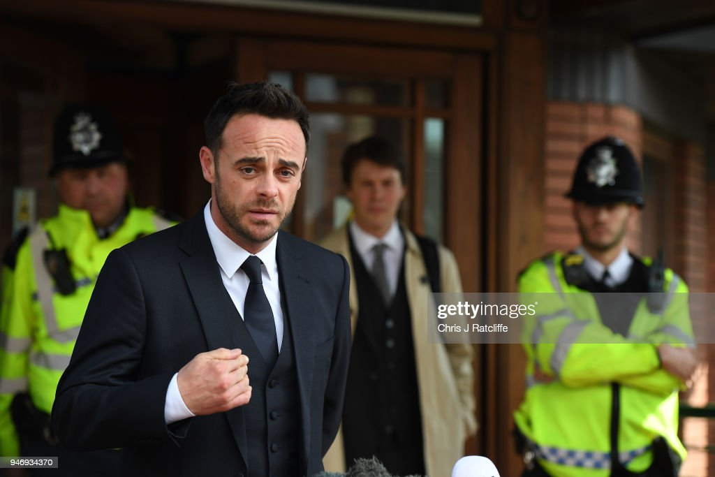 Ant McPartlin makes a statement as he leaves Wimbledon Magistrates Court on April 16, 2018 in London, England. Anthony McPartlin, one half of the television presenting duo Ant and Dec is fined £86,000 and banned from driving for 20 months after pleaded guilty to drink-driving.