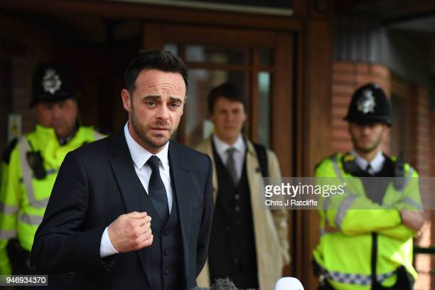 Ant McPartlin makes a statement as he leaves Wimbledon Magistrates Court on April 16 2018 in London England Anthony McPartlin one half of the...