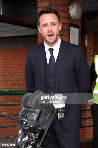 Ant McPartlin reads a statement outside Wimbledon Magistrates Court on April 16 2018 in London England Anthony McPartlin one half of the television...