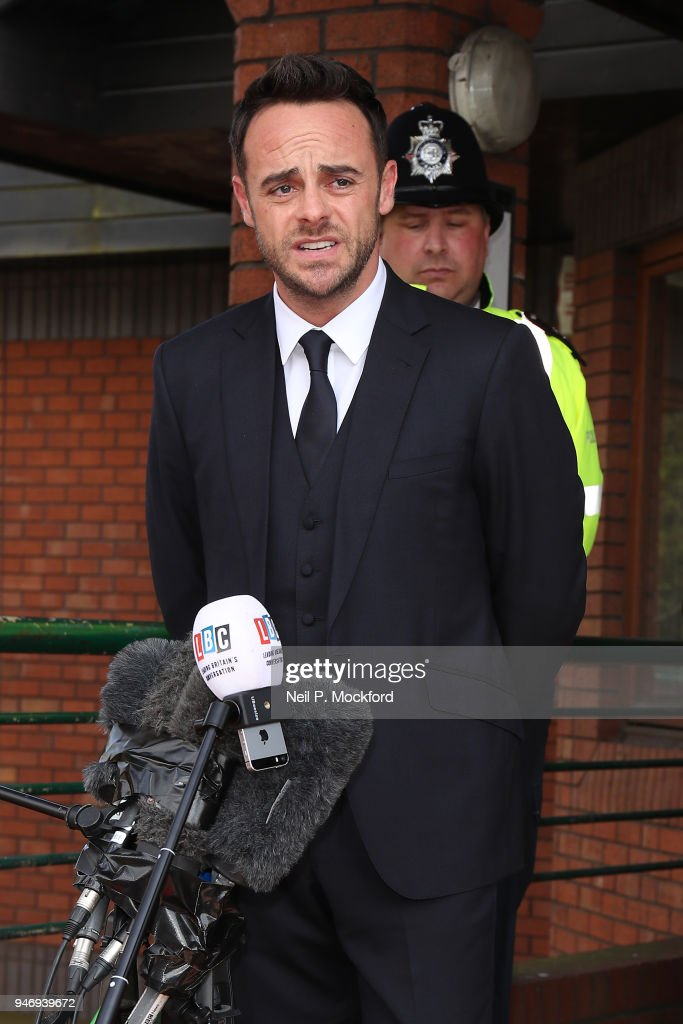 Ant McPartlin reads a statement outside Wimbledon Magistrates Court on April 16, 2018 in London, England. Anthony McPartlin, one half of the television presenting duo Ant and Dec, appears in court charged with drink-driving following a three car collision on March 18 2018.
