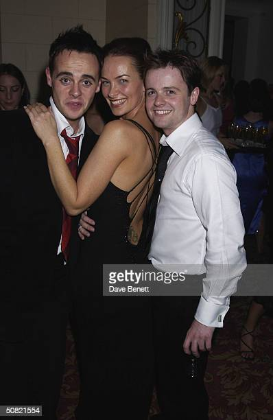 Ant McPartlin Sam Robson and Declan Donnelly attend the 2002 Bafta TV After party in the ballroom at The Grosvenor House Hotel on April 22 2002 in...