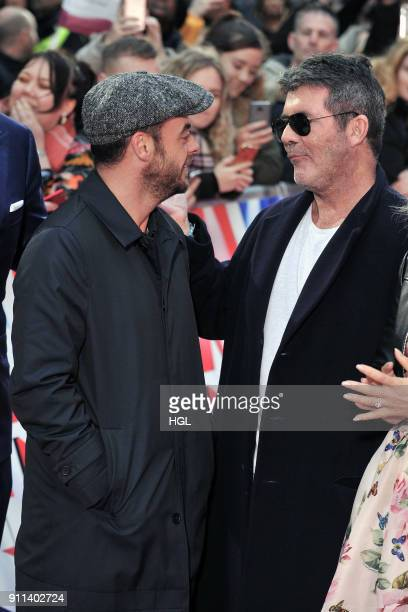 Ant McPartlin Simon Cowell attend Britain's Got Talent London auditions at London Palladium on January 28 2018 in London England