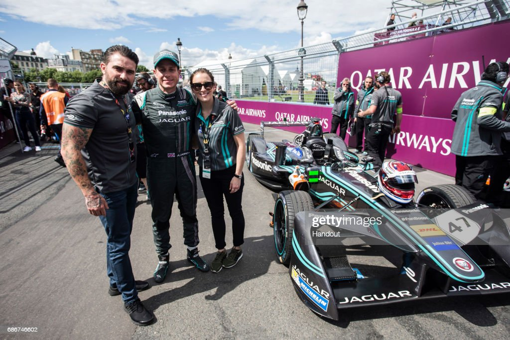 Ant Middleton, Panasonic Jagar Racing driver Adam Carroll and Vicky McClure on the grid Paris ePrix during the Paris ePrix, sixth round of the 2016/17 FIA Formula E Series on May 20, 2017 in Paris, France.