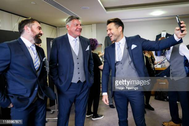 Ant Middleton Sam Allardyce and Mark Wright attend the Matalan suit fitting for Soccer Aid at Chelsea Harbour Hotel on June 13 2019 in London England...