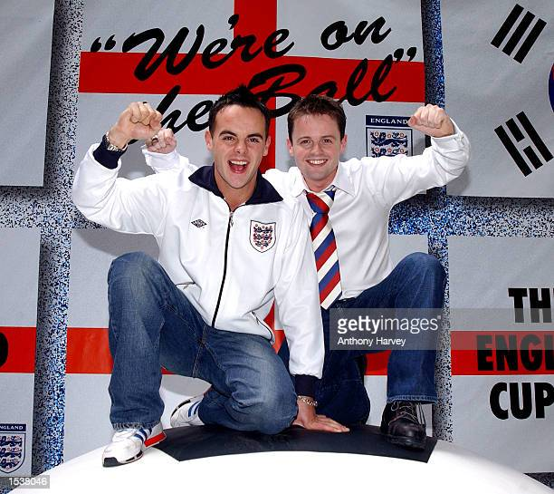Ant n'' Dec members Ant McPartlin and Declan Donnelly pose for photographers April 25 2002 at the launch of their official England World Cup song 'On...