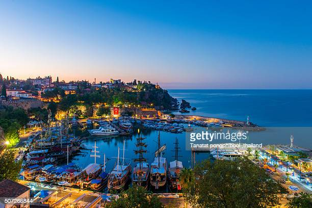 Antalya Harbour at Dusk in the Morning, Turkey.