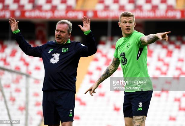 Antalya Turkey 22 March 2018 James McClean and assistant coach Steve Walford left during a Republic of Ireland training session at Antalya Stadium in...