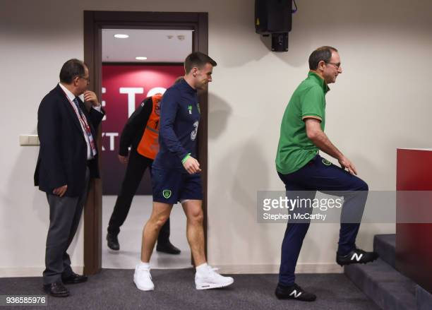 Antalya Turkey 22 March 2018 Manager Martin O'Neill and Seamus Coleman arrive for a press conference at Antalya Stadium in Antalya Turkey