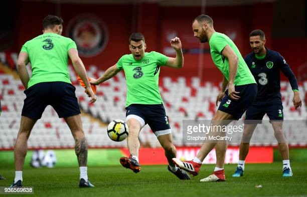 Antalya Turkey 22 March 2018 Seamus Coleman centre tries to stop a pass from David Meyler during a Republic of Ireland training session at Antalya...