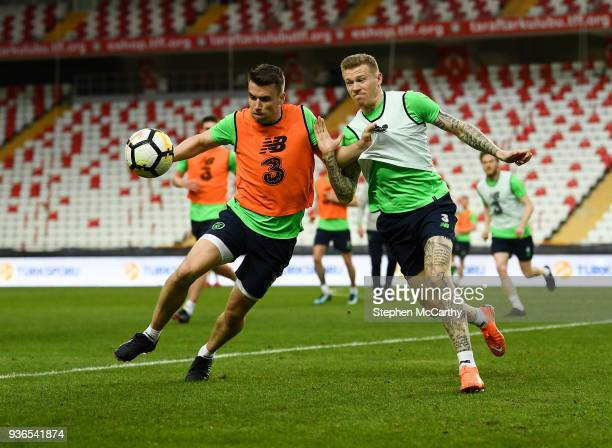 Antalya Turkey 22 March 2018 Seamus Coleman left and James McClean during a Republic of Ireland training session at Antalya Stadium in Antalya Turkey