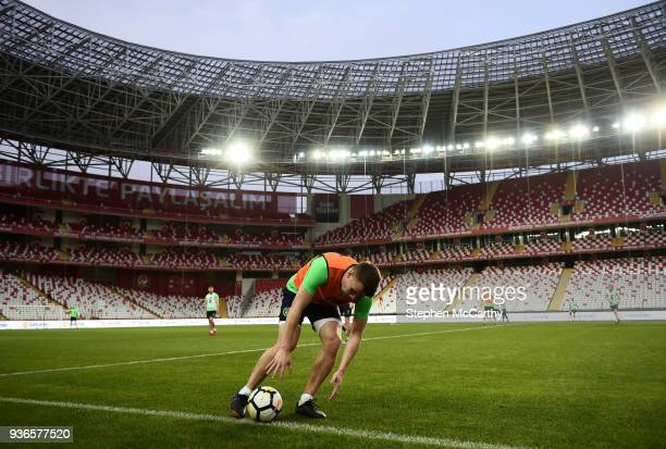 Antalya Turkey 22 March 2018 Seamus Coleman picks up the ball in the gaelic football style before taking a throw in during a Republic of Ireland...