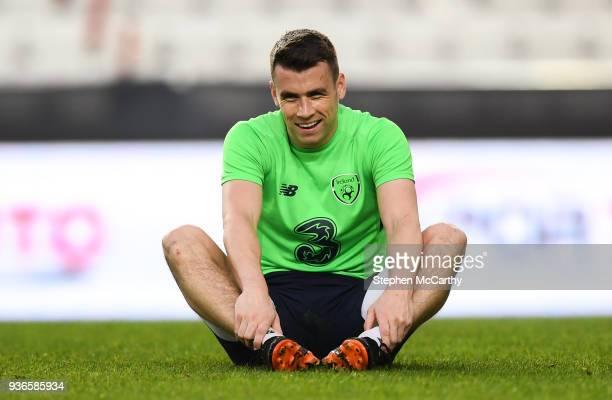 Antalya Turkey 22 March 2018 Seamus Coleman stretches after a Republic of Ireland training session at Antalya Stadium in Antalya Turkey