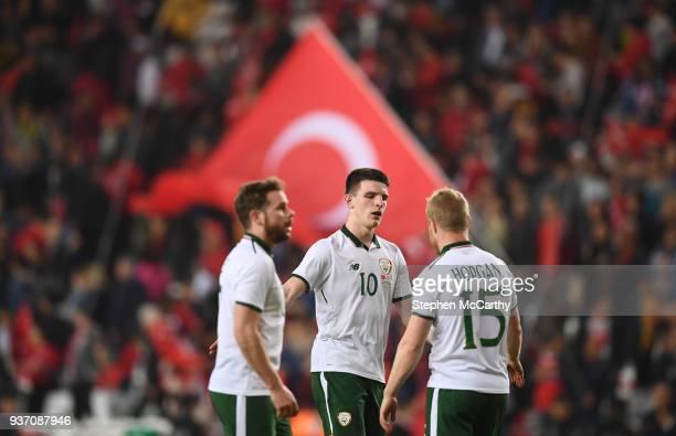 Antalya Turkey 23 March 2018 Declan Rice centre Alan Judge left and Daryl Horgan of Republic of Ireland following the International Friendly match...