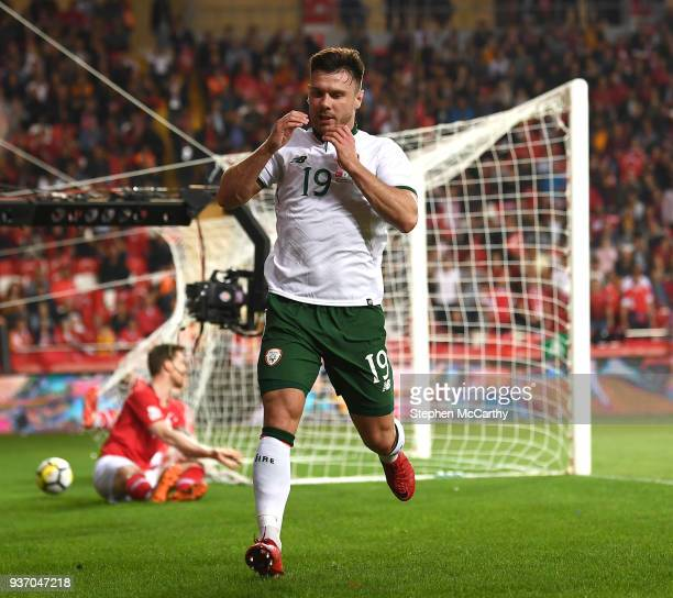Antalya Turkey 23 March 2018 Scott Hogan of Republic of Ireland reacts after a missed chance on goal during the International Friendly match between...