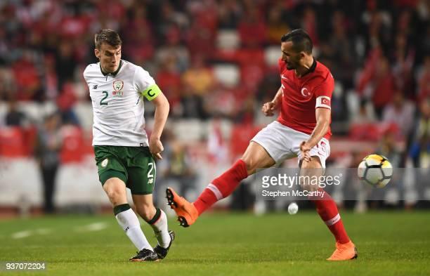 Antalya Turkey 23 March 2018 Seamus Coleman of Republic of Ireland in action against Mehmet Topal of Turkey during the International Friendly match...